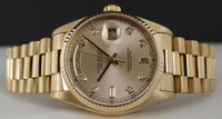 New Luxury Mens Watch Mechanical Watch 	36mm Day Date Gold President Champagne Diamond 18038