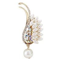 Fashion Women Wing Shape Rhinestone Pearl Brooch Pins For Wedding,Free shipping