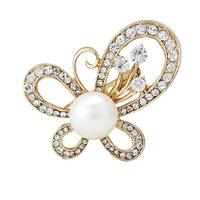 Fashion Women Gold Butterfly Rhinestone Pearl Brooch Pins For Wedding,Free shipping