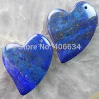(Min.order 20$ mix)Free shipping (2 piese/lot) 47x32x6mm Lapis Lazuli Heart Pendant Bead R1420