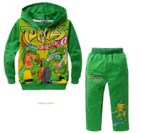 5set/lot Kids cartoon Teenage Mutant Ninja Turtles, cotton terry fabric, front pocket Hooded Children Set/Suit