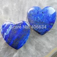 (Min.order 20$ mix)Free shipping (2 piese/lot) 40x39x6mm Lapis Lazuli Heart Pendant Bead R1428