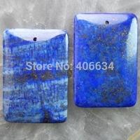 (Min.order 20$ mix)Free shipping (2 piese/lot) 47x32x6mm Lapis Lazuli Oblong Pendant Bead R1416