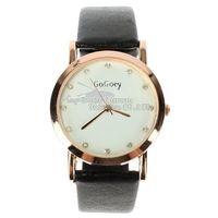 2014 New Couple Watches PU Leather Quartz Watches GOGO 844 Rhinestone Wristwatches Fashion Wristwatches Dropship
