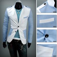 New 2014 Autumn Winter Men Suit Jacket Fashion Casual Men Brand Pure Color Suit Jacket Free Shipping Sales promotion Blue/White