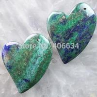 (Min.order 20$ mix)Free shipping (2 piese/lot) 45x35x6mm Lapis Lazuli with Chrysocolla Heart Pendant Bead R1438