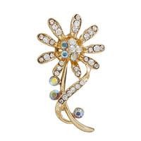 Fashion Women Rhinestone Gold Flower Brooch Pins For Wedding Bouquet,Free shipping