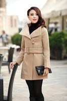 Wool Coat classic autumn/winter women's windbreaker woolen cloth Coat Coat Cultivate one's morality lady trench coat lapels