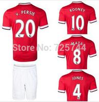 14 15 ROONEY soccer jerseys+shorts V.PERSIE MATA NANI home soccer uniforms set custom free