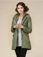 big yards hooded fur bladder trench coat Autumn and winter women's trench coat XXL,XXXL