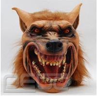 Halloween activities animal mask terrorist hairy latex wolf wolf hair simulation yellow wolf mask Report