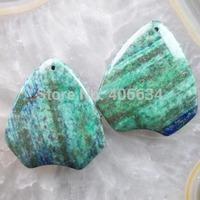 (Min.order 20$ mix)Free shipping (2 piese/lot) 44x40x6mm Lapis Lazuli with Chrysocolla Pendant Bead R1452