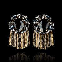 Trendy Rehinestone Drop Earrings Alloy Crystal Arround Tassels Women Jewelry Handmade