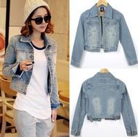 2014 Hitz long-sleeved denim jacket women short paragraph Korean version Slim thin coat wild tide seasons winter jean short coat