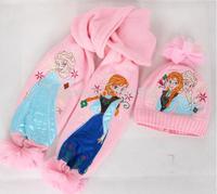 Hot sale Christmas gift Frozen Scarf frozen Hat 2pcs\ set kids Snow Queen Elsa Anna girl scarves Winter warm cap/princess scarf