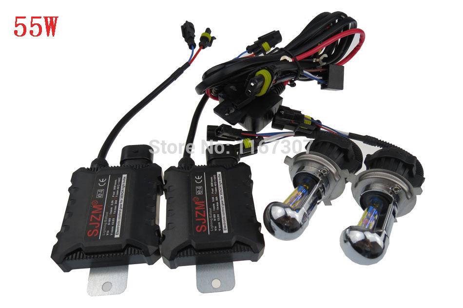 FREE SHIPPING h4 high low H4 car Bi xenon hid kits 55W Hi Lo Beam Lamp 3000K 4300K 6000K 8000K 12000K(China (Mainland))