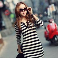 Casual Women Clothes Classic Black White Striped Long Sleeve Knitting Dresses Slim Waist Elegant High Quality Short Dress 5832