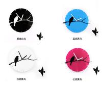 Modern Design 3D Acrylic Birds Wall Clock Black White Blue Kitchen Clock Wall Watch Home Decoration Gifts Freeshipping