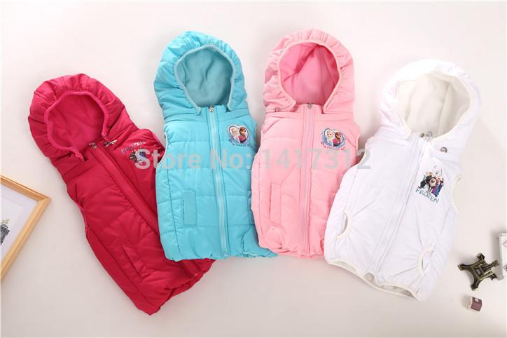 Retail Girl Autumn/winter waistcoat kids frozen vests children soft coats kids jackets Vest Frozen Girls Coat outerwear clothing(China (Mainland))