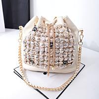 2014 fashion women chain leather handbag bucket bag buttons one shoulder cross-body messenger bags l1341