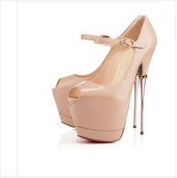 Sexy ultra high heeled peep toe pumps women silvery Metal heel with Chain thick platform open toe dress shoes nude / black