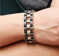 """21cm(8.27"""")*18.6mm Shiny Jewelry 316L Stainless Steel Silver Black Watch Belt Bracelet Cool Boy Men's Cuff Bangle"""