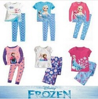 Retail New 2014 frozen baby girls clothing sets children kids boys summer pajamas child Anna Elsa princess clothes for 2-7T