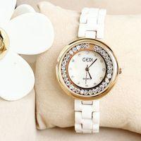Lady Watch Ceramic White Diamond Fashion Charm Style Bracelet Rhinestone Watch Women Luxury Design Free Shipping Wholesale