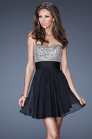 2014 Style A-line Sweetheart  Rhinestone Short / Mini  Chiffon Homecoming Dresses / Cocktail Dresses Free Shipping (XZ03040)