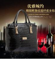 Free shipping 2014  women's leather handbag fashion Crocodile japanned messenger bags tote bags l1352