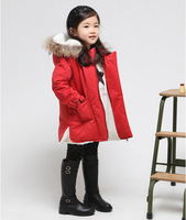 top fasion 2014 freeshipping children's thick cotton-padded parkas and long sections wind girls' winter down