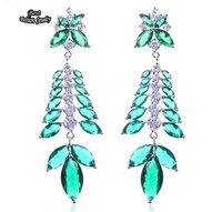 Cubic Zirconia Turquoise Earrings Long Dangle Earring Green Leaves Drop Earring for Women ZC093ER