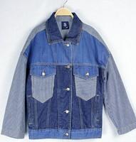 2014 Korean version the retro denim jacket lapel boast classic women shoulder stitching denim jacket was thin little jean jacket