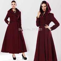 Exclusive custom 2014 Women winter woolen Red wine coat Slim put on a large lotus leaf waist coat lengthen woman coats