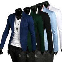 New 2014 Autumn Winter Fashion Men Formal Suit Jacket fashion Slim Men single buckle Pure Color Formal Suit Jacket Free shipping
