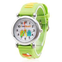 Cartoon Football Silicone Analog Quartz Wrist Watch (Green)