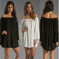 New fashion Spring Autumn Chiffon White Black Sexy Long sleeve Plus Size Casual blusas Femininas 2015 t shirt Women Blouse