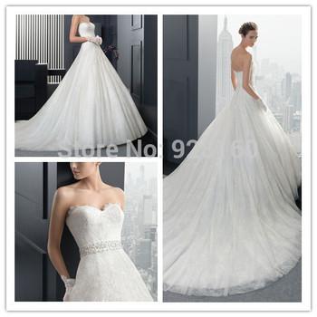 Потрясающие свадебное платье 2015 поезд милая аппликации лиф BeadBelt кружево модные Vestido Novia свадебные платья