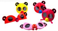 Free Shipping cartoon bear folding children fashion sunglasses cat eye sunglasses 6colors animal shape sunglasses with aniti-UV
