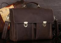 Men genuine leather portfolio office bag authentic designer handbags vintage style briefcase TIDING  1119
