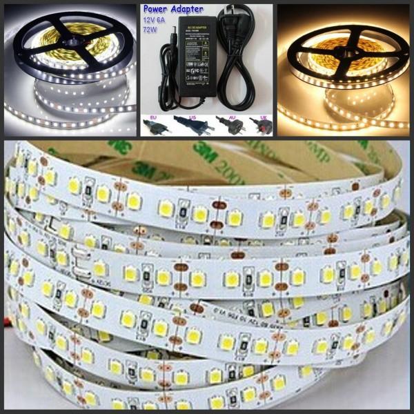 5M 120LEDs/m Super Bright 2835 flexible LED Strip light  pure white/warm white 12V 6A Power supply(EU/US/UK/AU plug) cheap price(China (Mainland))