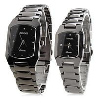 Pair of Alloy Analog Quartz Wrist Watches (Black)