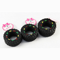 Animal Sounds Tire Shaped Dog Toys Puppy Cat Chews Squeaky Toys Rubber Pet Products