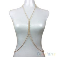 Women's Sexy Fishbone Harness Bikini Crossover Body Chain Waist Necklace Jewelry  B02