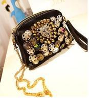 2014 New Hot Sale Women's Small Rivet  Leopard Messenger Bag Punk Vintage Party Bags Fashion Designer  Cheap High Quality