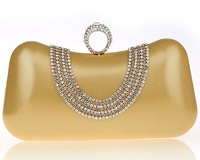 2014 Lady U Style Colorful Diamond Shining Clutch Evening Bag High Quality Snap Ring Bridal Handbag messenger bags 7 Color 1717