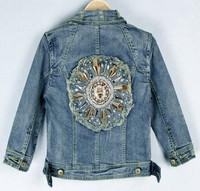 New arrive 2014 Fashion Korean decorative hardware cute denim jacket lapel thin jean clothing was five points sleeve denim
