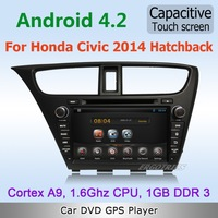 Pure Android 4.2 WiFi 3G Car DVD GPS Navi Stereo For Honda Civic 2014 Hatchback with Radio Bluetooth IPOD TV Canbus Free maps