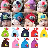 2014new multicolor optional Pure color flowers Baby head cap Children's cotton cloth cap