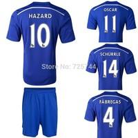 DROGBA FABREGAS HAZARD TERRY OSCAR Home football shirt&shorts blue embroidery logo Soccer uniforms kits